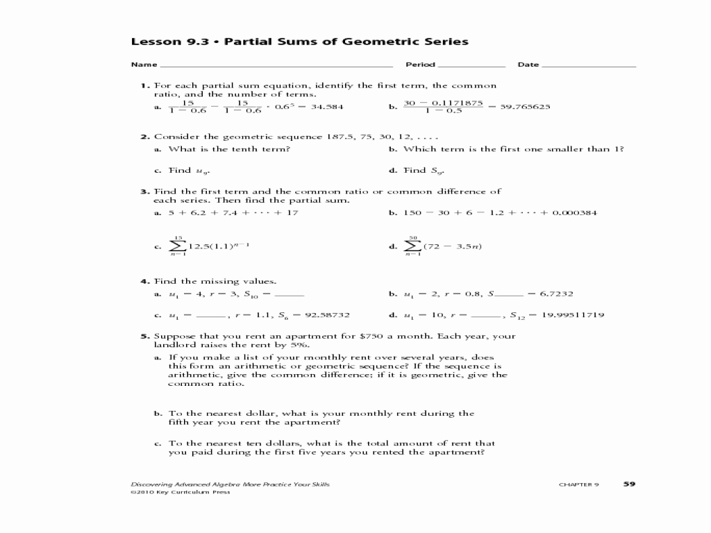 Arithmetic Sequences Worksheet Answers New Arithmetic and Geometric Sequences Worksheet Answers