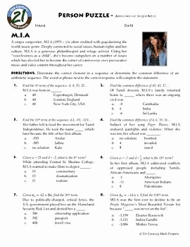 Arithmetic Sequences Worksheet Answers Unique Person Puzzle Arithmetic Sequences M I A Worksheet