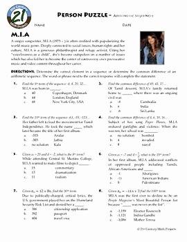 Arithmetic Sequences Worksheet Answers Unique Person Puzzle Arithmetic Sequences M I A Worksheet