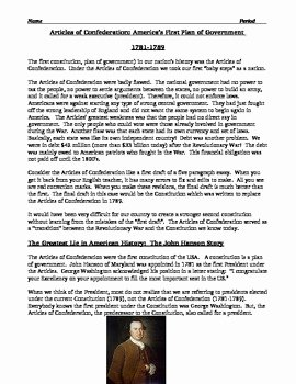 Articles Of Confederation Worksheet Answers Awesome Articles Of Confederation Worksheet Description and