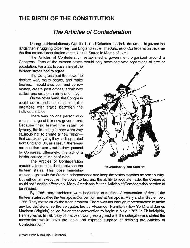 Articles Of Confederation Worksheet Answers Elegant Articles Confederation Worksheet