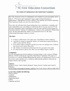 Articles Of Confederation Worksheet Awesome the Articles Of Confederation to the United States
