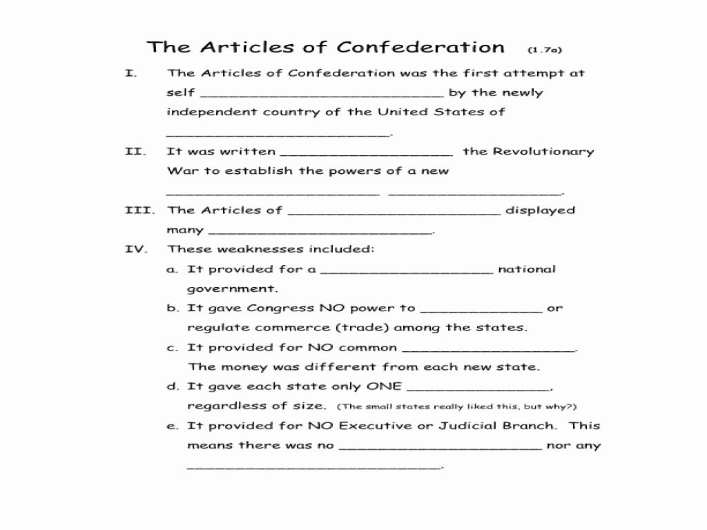Articles Of Confederation Worksheet Beautiful Articles Confederation Worksheet Answers Breadandhearth