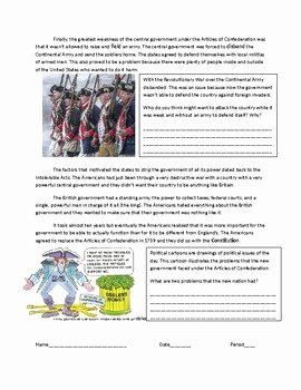 Articles Of Confederation Worksheet Beautiful Us History the Articles Of Confederation by Costello S