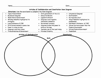 Articles Of Confederation Worksheet Elegant Articles Of Confederation and Constitution Worksheet