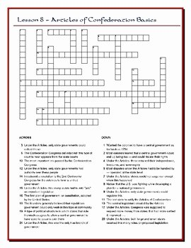 Articles Of Confederation Worksheet Luxury We the People Lesson 8 Worksheet Puzzles the Articles Of