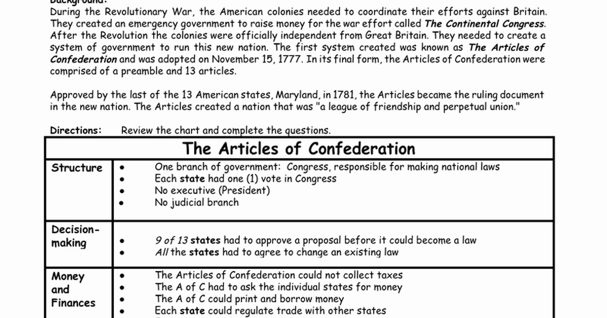 Articles Of Confederation Worksheet New Articles Confederation Worksheet