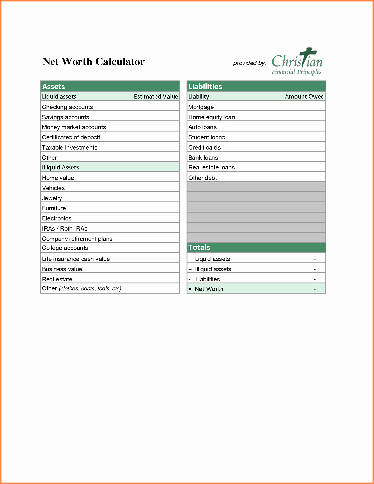 Assets and Liabilities Worksheet Awesome 9 assets and Liabilities Spreadsheet