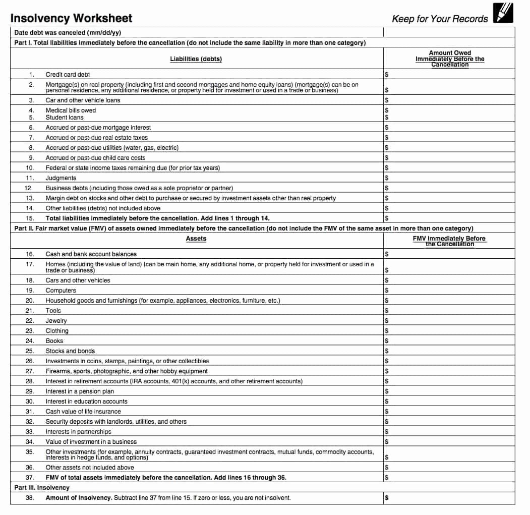 Assets and Liabilities Worksheet Lovely Irs form 982 is Your Friend if You Got A 1099 C