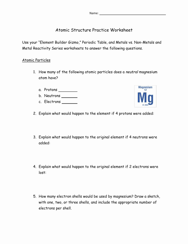 Atomic Structure Practice Worksheet Answers Awesome atomic Structure Practice Worksheet
