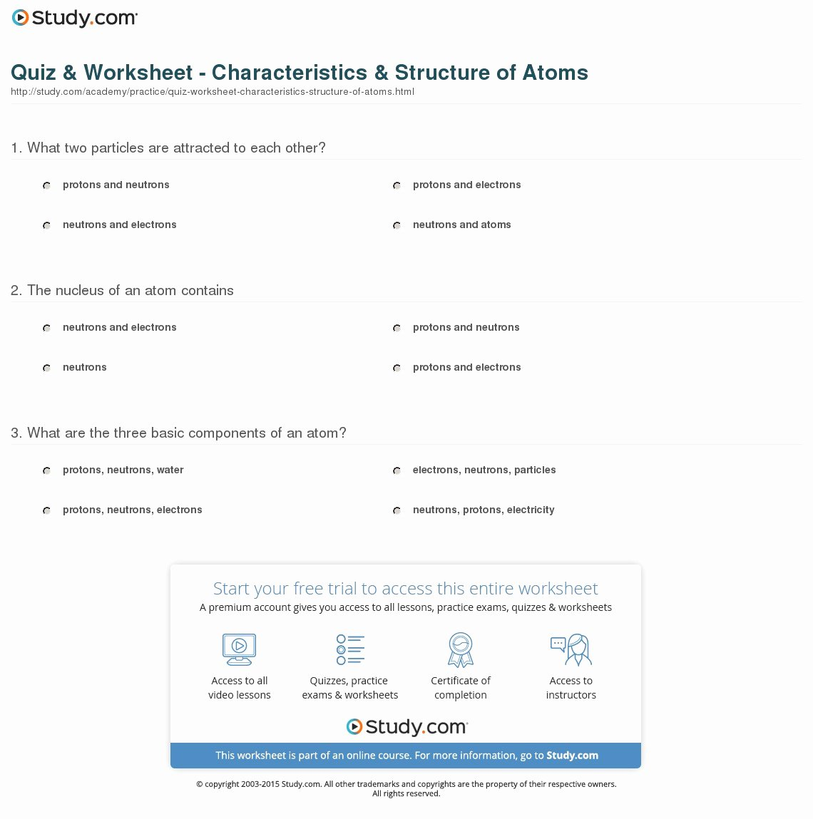 Atomic Structure Practice Worksheet Answers Lovely Quiz & Worksheet Characteristics & Structure Of atoms