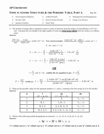 Atomic Structure Review Worksheet Lovely atomic Structure Review Worksheet Avon Chemistry