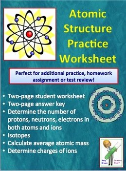 Atomic Structure Review Worksheet New atoms and atomic Structure Worksheet by Amy Brown Science