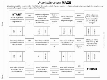 Atomic Structure Review Worksheet New Basic atomic Structure Maze Worksheet for Review or