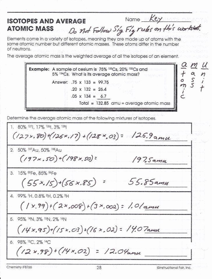 Atomic Structure Worksheet Answer Key Fresh Parts An atom Worksheet