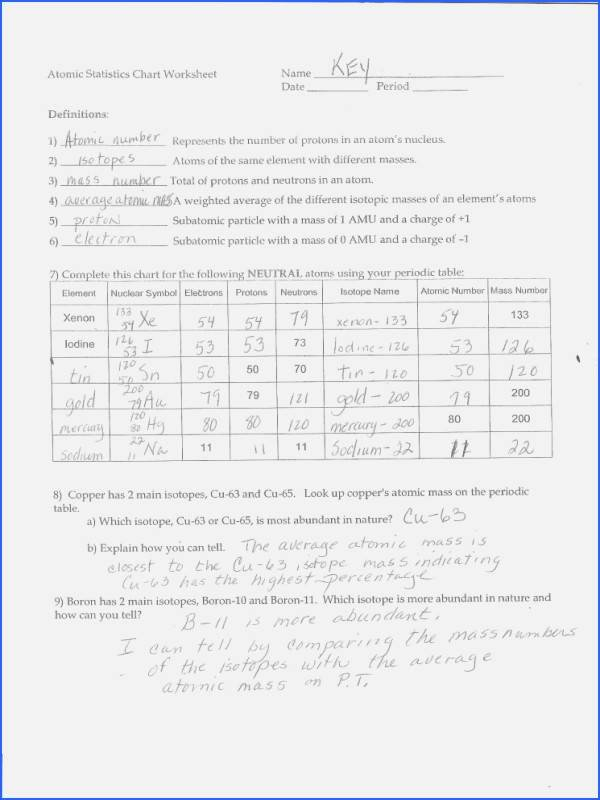 Atomic Structure Worksheet Answers Key Beautiful Chapter 5 atomic Structure and the Periodic Table Answer