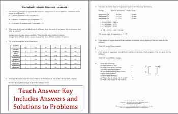 Atomic Structure Worksheet Answers Key Elegant atoms and atomic Structure Worksheet by Amy Brown Science