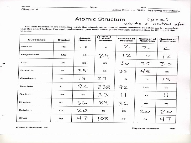 Atomic Structure Worksheet Answers Key Elegant Chapter 4 atomic Structure Worksheet Answer Key Free