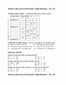 Atomic Structure Worksheet Chemistry Fresh atomic Structure and Periodic Table Review Worksheet for