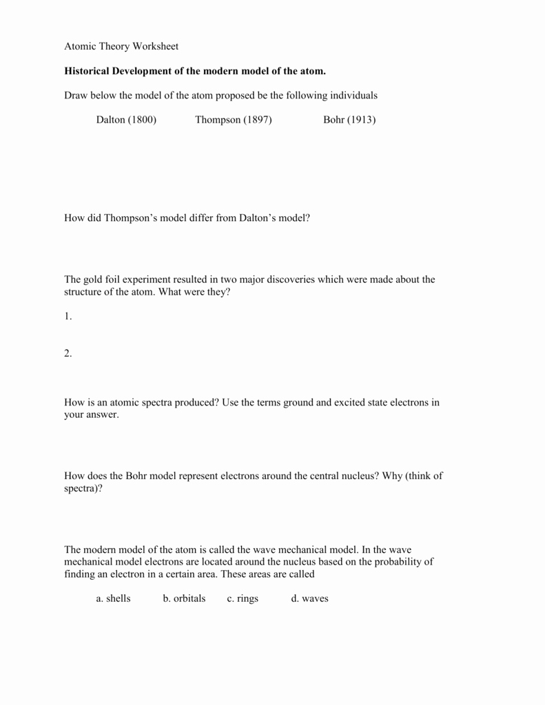 Atomic theory Worksheet Answers Luxury atomic theory Worksheet