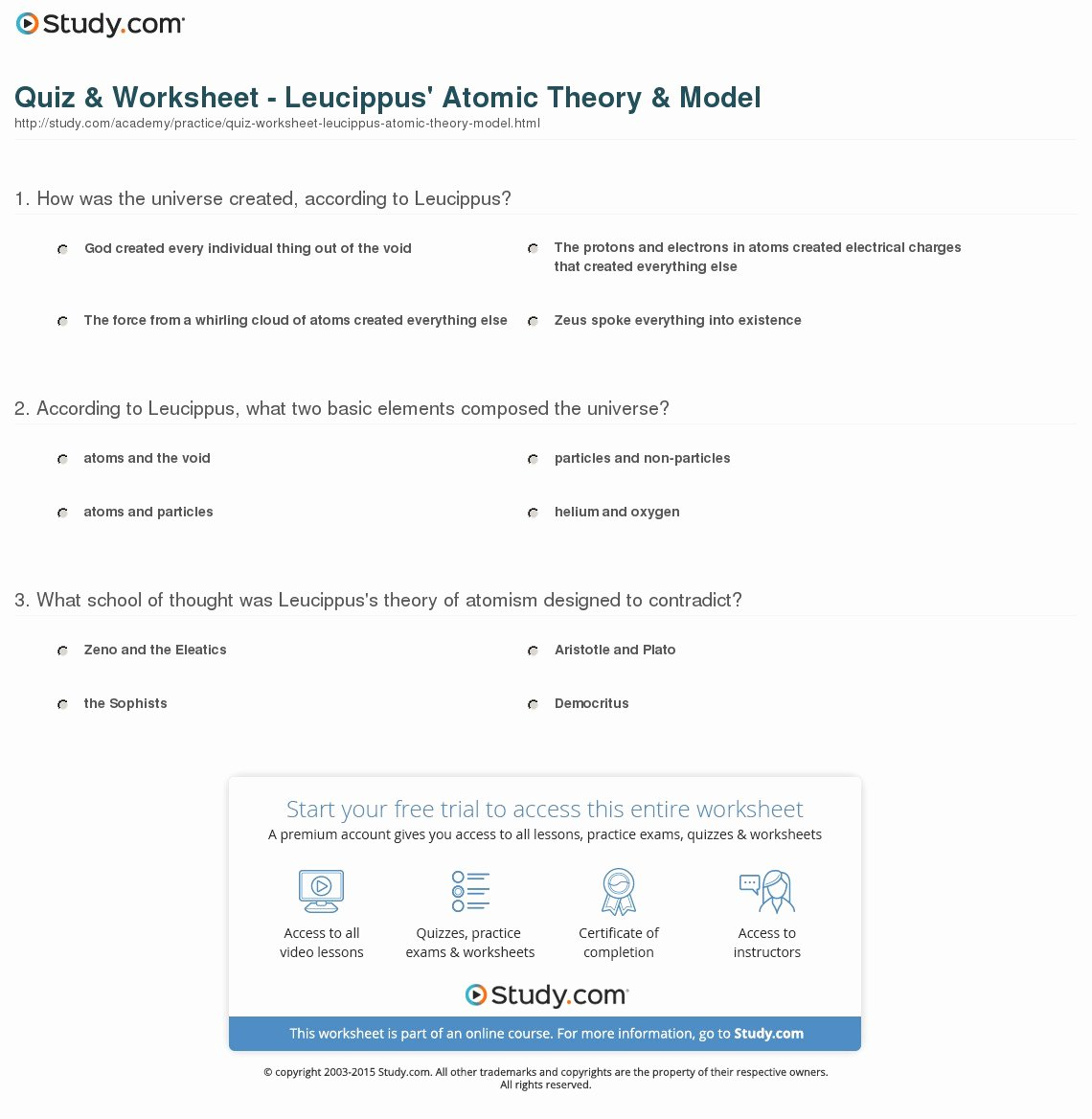 Atomic theory Worksheet Answers Luxury Quiz & Worksheet Leucippus atomic theory & Model