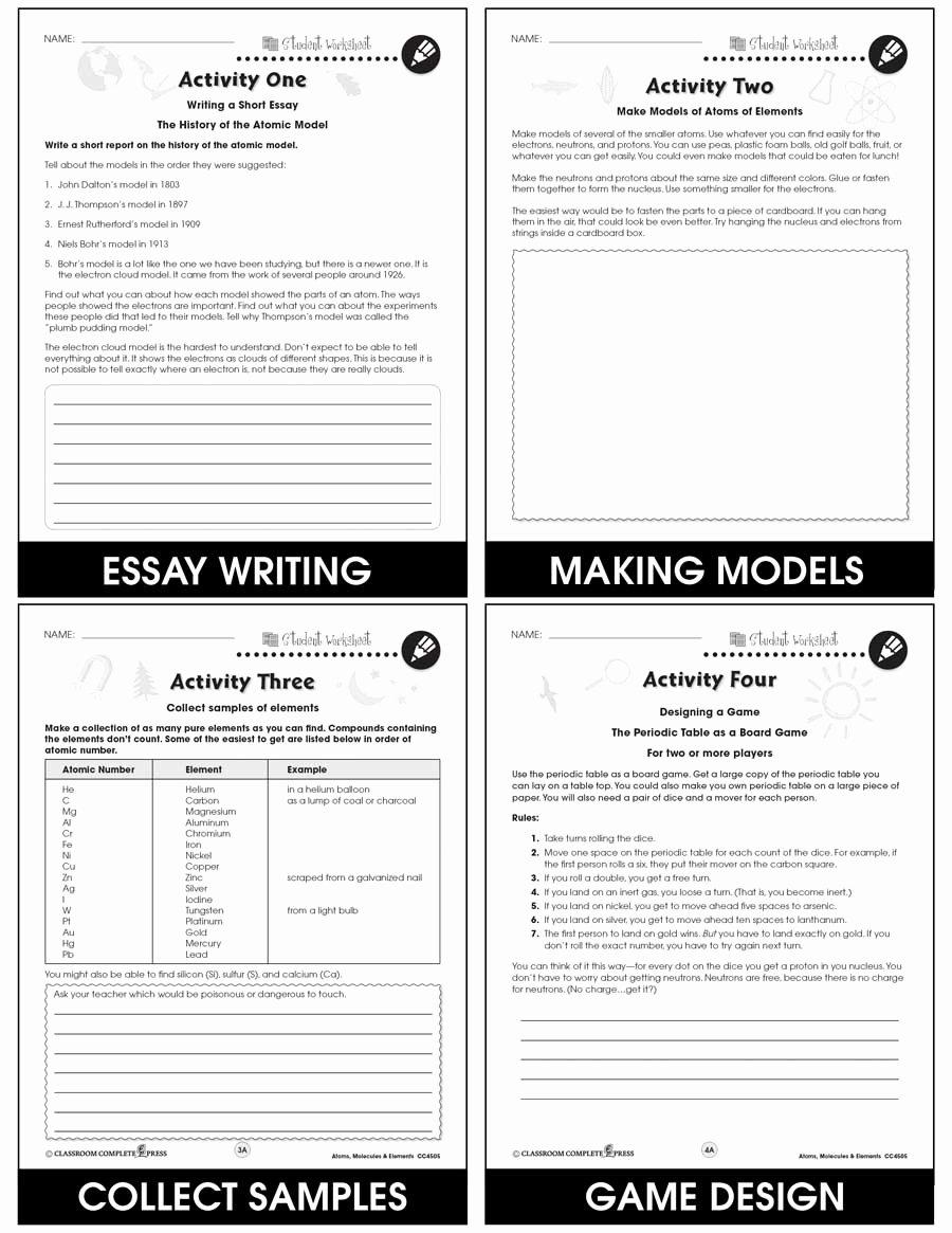 Atoms and Elements Worksheet Beautiful atoms Molecules & Elements Bonus Worksheets Grades 5