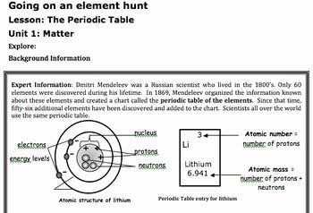 Atoms and Elements Worksheet Best Of Periodic Table Elements Lesson Worksheet atomic Mass 6th