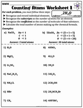 Atoms and Elements Worksheet Fresh Worksheet Counting atoms Version A