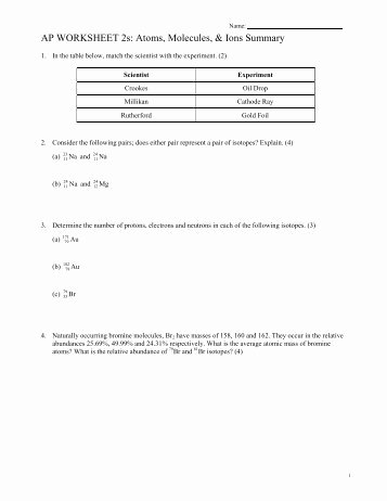 Atoms and Ions Worksheet Elegant Nsc 130 atoms Ions Naming Worksheet Answers