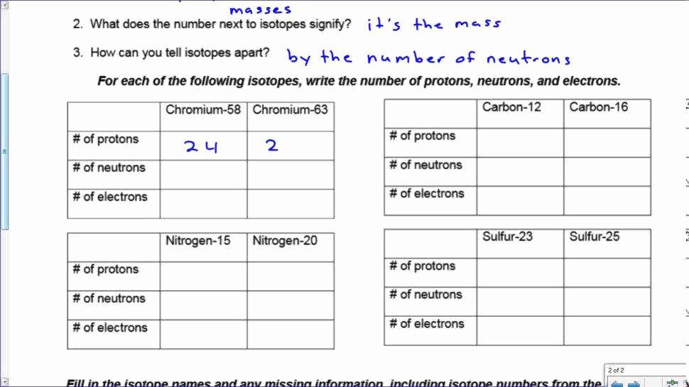 Atoms and isotopes Worksheet Answers Luxury isotopes Worksheet