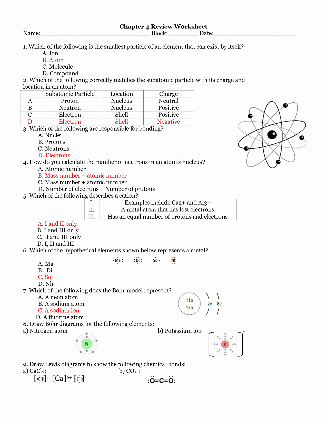 Atoms and Molecules Worksheet Lovely 16 Best Of Molecules and atoms Worksheet Answer Key