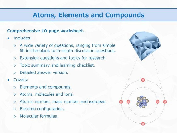 Atoms and Molecules Worksheet New atoms Elements and Pounds [worksheet] by