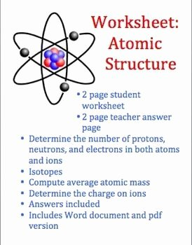 Atoms Vs.ions Worksheet Answers New atoms and atomic Structure Worksheet