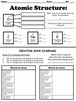Atoms Worksheet Middle School Elegant atomic Structure Worksheet by for the Love Of Science