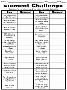 Atoms Worksheet Middle School Elegant Take the Element Challenge by for the Love Of Science