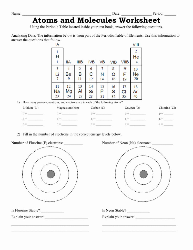Atoms Worksheet Middle School Luxury atoms and Molecules Worksheet
