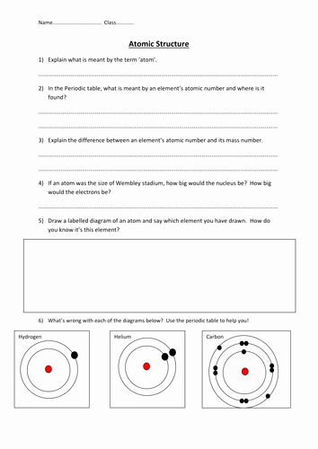 Atoms Worksheet Middle School New atomic Structure Worksheet by Edp10ch