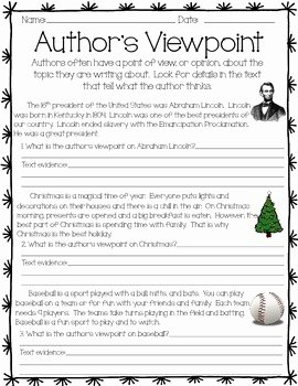 Author Point Of View Worksheet Best Of Author S Viewpoint Activity by Kristen Ojard
