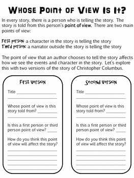 Author Point Of View Worksheet Best Of Christopher Columbus Point Of View Lesson by Ms E Goes