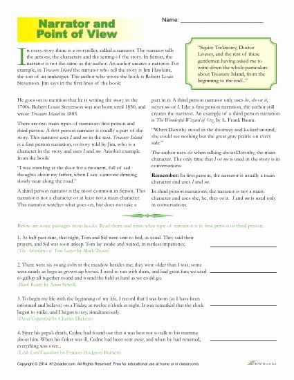 Author Point Of View Worksheet Fresh Point Of View Worksheets