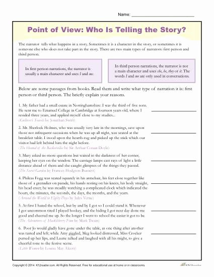 Author Point Of View Worksheet Inspirational Point Of View Worksheets
