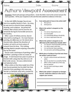 Author Point Of View Worksheet Lovely Author S Viewpoint assessment by Kristen Ojard