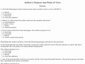 Author Point Of View Worksheet Luxury Author S Purpose and Point Of View Pretest 7th 9th Grade