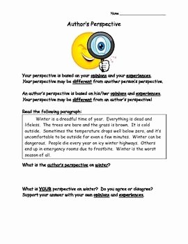 Author Point Of View Worksheet New Author S Perspective 6 Worksheets Teaching