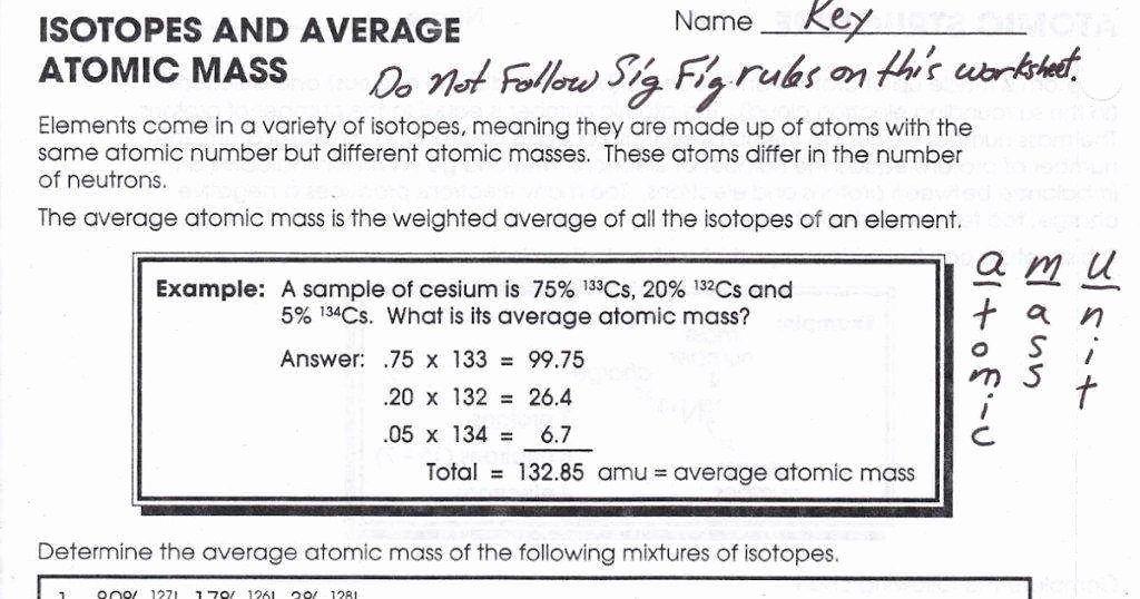 Average atomic Mass Worksheet Answers Beautiful Average atomic Mass Worksheet