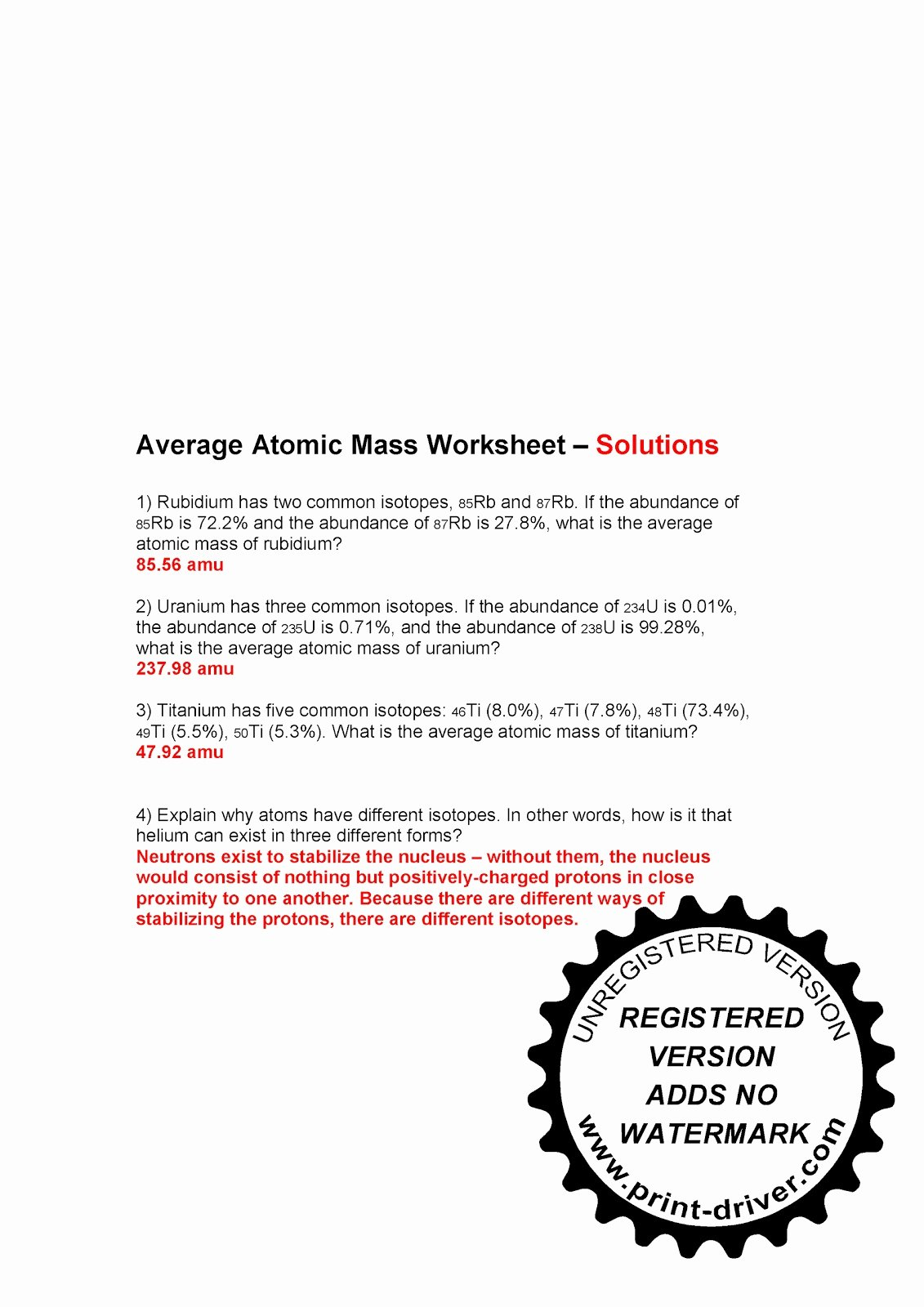 Average atomic Mass Worksheet Answers Best Of Mr Zehner S Chemistry Class November 2010