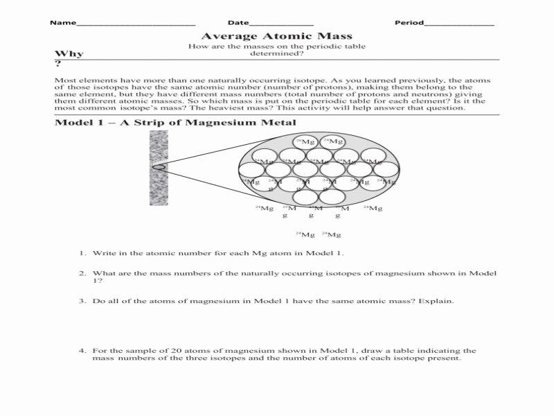 Average atomic Mass Worksheet Answers Elegant Calculating Average atomic Mass Worksheet Answers Free