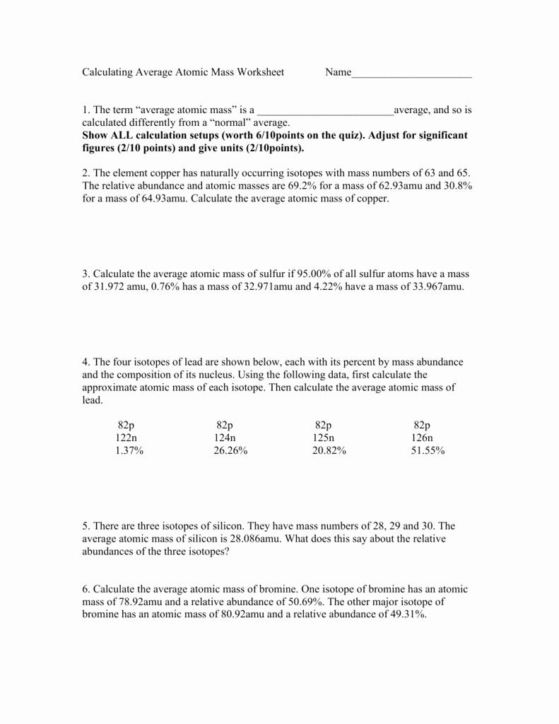 Average atomic Mass Worksheet Answers Lovely Calculating Average atomic Mass Worksheet Name