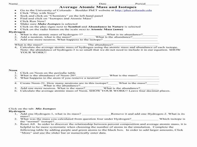 Average atomic Mass Worksheet Answers Luxury Average atomic Mass Worksheet