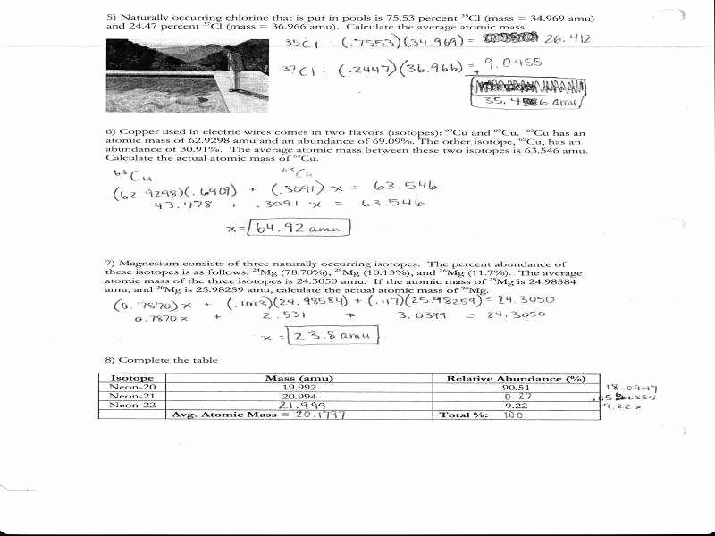 Average atomic Mass Worksheet Best Of Average atomic Mass Worksheet